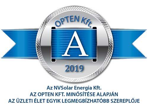 Az NVSolar Kft az Opten minősítése alapján az üzleti élet egyik legmegbízhatóbb szereplője